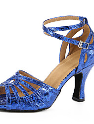 Customizable Women's Dance Shoes Leatherette Leatherette Latin Sandals Stiletto Heel Performance Blue