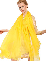 Women Cute Pure Color Brightly Yellow High-end Scarves Chiffon Shawl Beach Towel