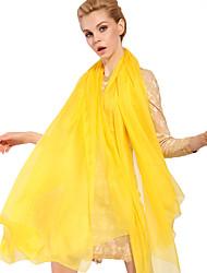Women Cute Pure Color Brightly Yellow High-end Scarves Chiffon Shawl Beach Towel