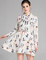 Mulheres Vestido Bainha / Camisa Vintage / Moda de Rua Estampado Acima do Joelho Colarinho de Camisa Poliéster