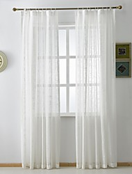 (Two Panels)Modern Solid White Linen Cotton Blend Sheer Curtain