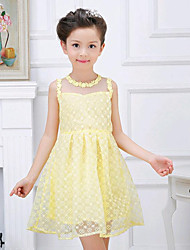 Girl's White / Yellow Dress,Floral Cotton Summer