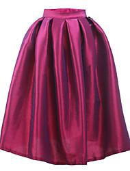 Women's England Style Vintage High Waist Mid-Calf Skirts