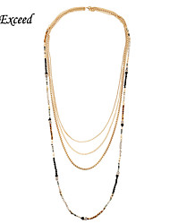 D Exceed Jewelry Vintage Multi Stranded Chain Sparkly Crystal Glass Bead Necklace for Women