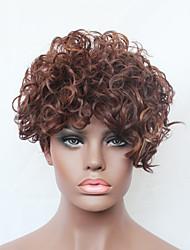 marrom mix de cores perucas completas encaracolados curtos para as mulheres negras corte de cabelo destaque sintética senhoras naturais
