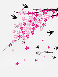 Romance Pink Plum Flowers TV Wall Stickers Removable Wedding Living Room DIY Background Wall Decals