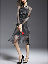 Women's Casual/Daily Simple Loose Dress,Polka Dot Knee-length Long Sleeve Black / Gray Others Summer Mid Rise