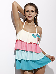 Women's Bandeau Tankini,Color Block Polyester White