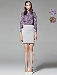 ZigZag® Damen Rundhalsausschnitt Lange Ärmel Shirt & Bluse Lila / Orange - 11294
