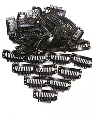 Neitsi® 50pcs I-shape Snap Clips Metal Clips for Hair Extensions DIY Clip-on 3.2cm (Black, Brown, Yellow)