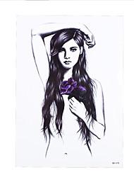 8pcs vorübergehende Schönheit Jugend Frauen Männer Körper Bein Kunst Tattoo-Aufkleber weißen Lotus Fee Bild Tattoo-Design Dekoration