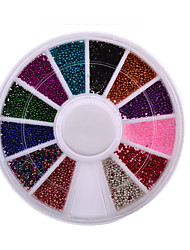 Top Nail 12 Color Steels Beads Studs For Nails Metal Caviar Design Wheel Charms 3D Decorations Nail Art Supplies