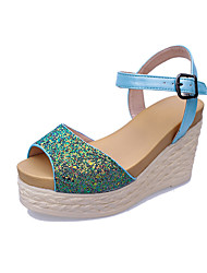 Women's Shoes PU Wedge Heel Wedges / Open Toe Sandals Outdoor / Dress / Casual Black / Green / Pink