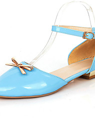 Women's Shoes Patent Leather Low Heel Pointed Toe / Open Toe Heels Party & Evening / Dress / Casual Blue / Beige