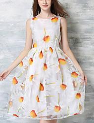 De las mujeres Línea A Vestido Simple Estampado Midi Escote Redondo Poliéster