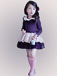 Girl's Purple Dress,Patchwork Polyester Summer