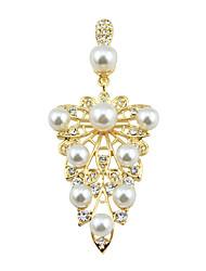 Korean Fashion Full Diamond Pearl Earrings Pierced Leaves