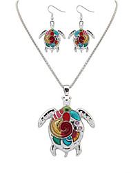 Women European Style Fashion Colorful Rainbow Turtle Necklace Earring Set