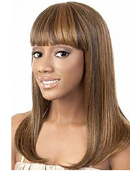 22 inch Women Long Straight Synthetic Hair Wig Light Brown with Free Hair Net