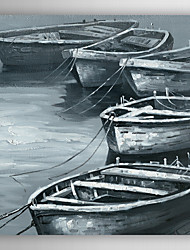 Hand Painted Oil Painting Landscape Black and White Ship II with Stretched Frame 7 Wall Arts®