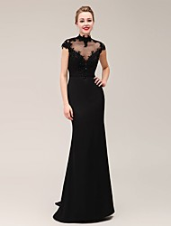 Formal Evening Dress Trumpet / Mermaid High Neck Sweep / Brush Train Satin / Stretch Satin with Appliques / Beading