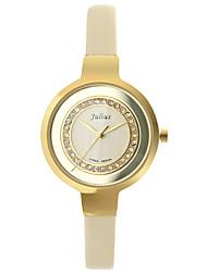 Julius®  Round Dial Rhinestone Fashion Women Watch Waterproof Leather Belt Vogue Wristwatch JA-680