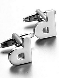 Men's Fashion Letter P Silver Alloy French Shirt Cufflinks (1-Pair)