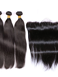 "4pcs/lot Ear to Ear Lace Frontal Closure With Bundles Peruvian Weft With Frontal Straight Hair With Frontal 13""x4"""