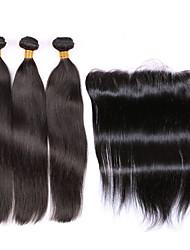 Trama do cabelo com Encerramento Cabelo Peruviano Retas 6 meses 4 Peças tece cabelo