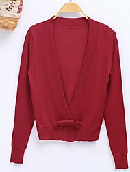 Women's Solid Blue / Red / Green Cardigan,Street chic Long Sleeve
