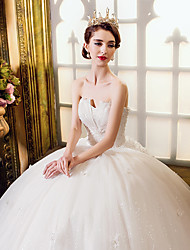 A-line Wedding Dress Vintage Inspired Floor-length Sweetheart Tulle with Appliques Beading Crystal Lace Pearl