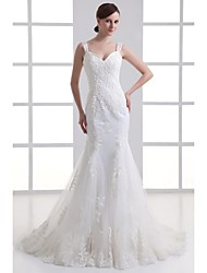 Trumpet / Mermaid Wedding Dress Court Train Sweetheart Organza / Satin with Appliques / Beading