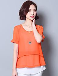 Mulheres Blusa Casual Plus Sizes / Moda de Rua Verão,Sólido Azul / Rosa / Vermelho / Laranja / Amarelo Poliéster Decote RedondoManga