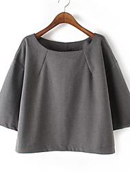Women's Work Street chic Spring Blouse,Solid Round Neck ¾ Sleeve Gray Polyester Medium