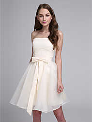 Knee-length Chiffon Bridesmaid Dress - Elegant / Lace-up A-line Sweetheart with Bow(s)