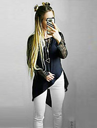 Women's  Sheer Lace Long Sleeve Asymmetrical Blouse Top