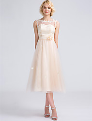 Tea-length Tulle Bridesmaid Dress - Lace-up A-line High Neck / Jewel / V-neck / Straps with Appliques / Lace