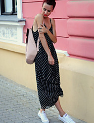 Women's Beach Boho Loose Dress,Polka Dot Strap Maxi Sleeveless Black Rayon Summer