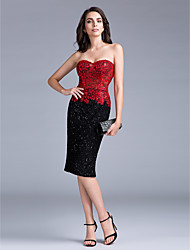 TS Couture® Cocktail Party Dress Sheath / Column Sweetheart Knee-length Lace / Knit with