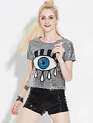 Damen Druck Sexy Ausgehen T-shirt,Rundhalsausschnitt Sommer Kurzarm Grün / Gold / Silber Andere Mittel