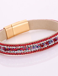 10 Color Monolayer Multicolor Rhinestone Leather Magnet Alloy Buckle Bracelet