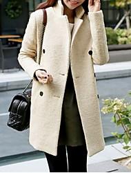 Damen Solide Einfach Lässig/Alltäglich Mantel,Herbst Gekerbtes Revers Langarm Beige Mittel Wolle