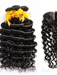 4pcs onda profunda cabelo virgem encaracolado muito malaio com fecho 3Bundles Remy não transformados tramas de cabelo humano com fecho de