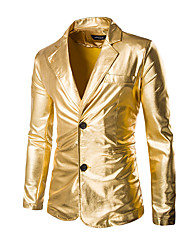 Men's Solid Work / Formal Blazer,Cotton Long Sleeve Black / Gold / Silver