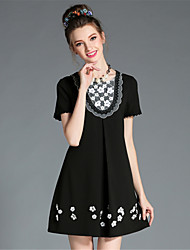 AOFULI Women's Elegant High Bead Embroidered Patchwork Lace Color Block Plus Size Party Dress