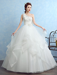Ball Gown Wedding Dress Floor-length One Shoulder Tulle with Appliques