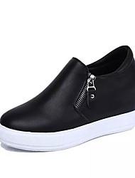 женская обувь из кожзаменителя клин пятки клинья моды кроссовки на открытом воздухе / вскользь черный / красный / белый