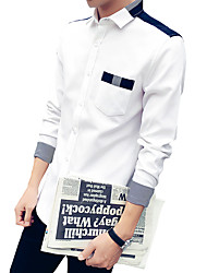 Men's Casual Slim Square Collar Spell Color Long Sleeved Shirt,Cotton / Polyester Long Sleeve Blue / White / Gray