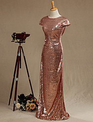 Floor-length Sequined Bridesmaid Dress Sheath / Column Scoop with Sequins