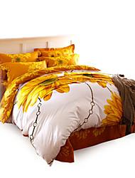 cobertura padrão floral 4pc edredão define algodão completa super macio